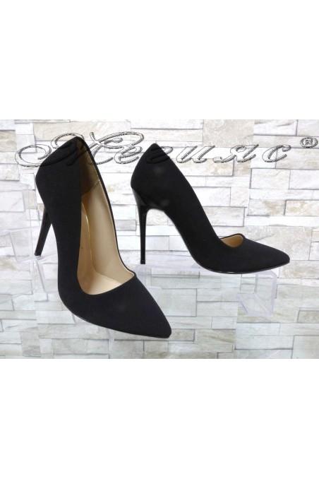 Дамски обувки 050 черни еко набук елегантни с висок ток