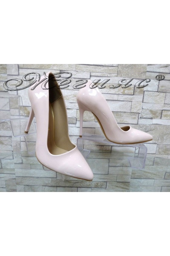 Дамски обувки 050 пудра лак елегантни с висок ток