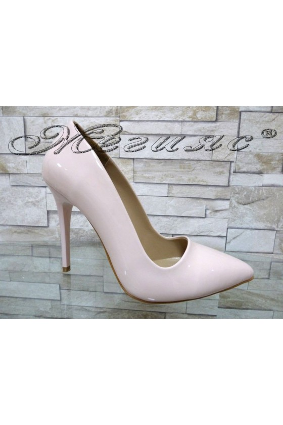 Women elegant shoes 050 nude patent with high heel