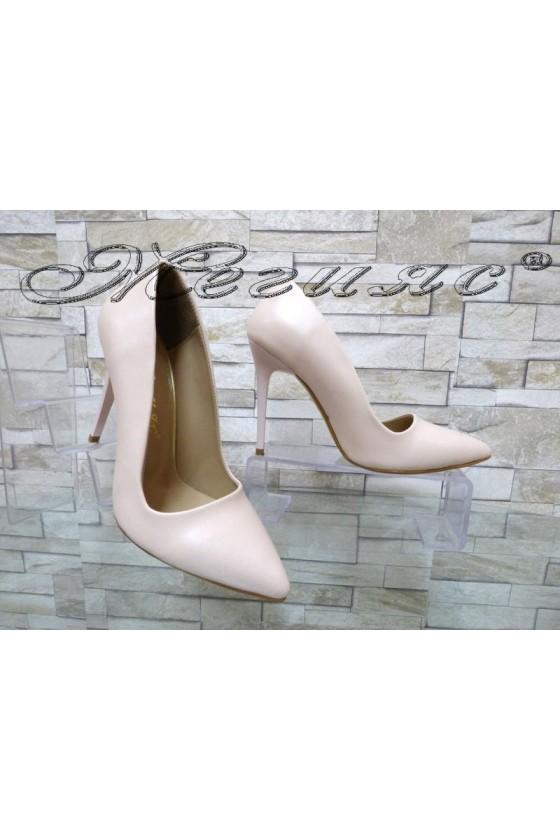 Дамски обувки 050 пудра мат елегантни с висок ток