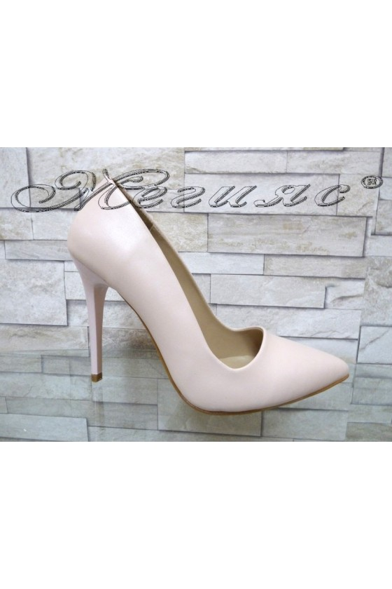 Women elegant shoes 050 nude rose pu with high heel