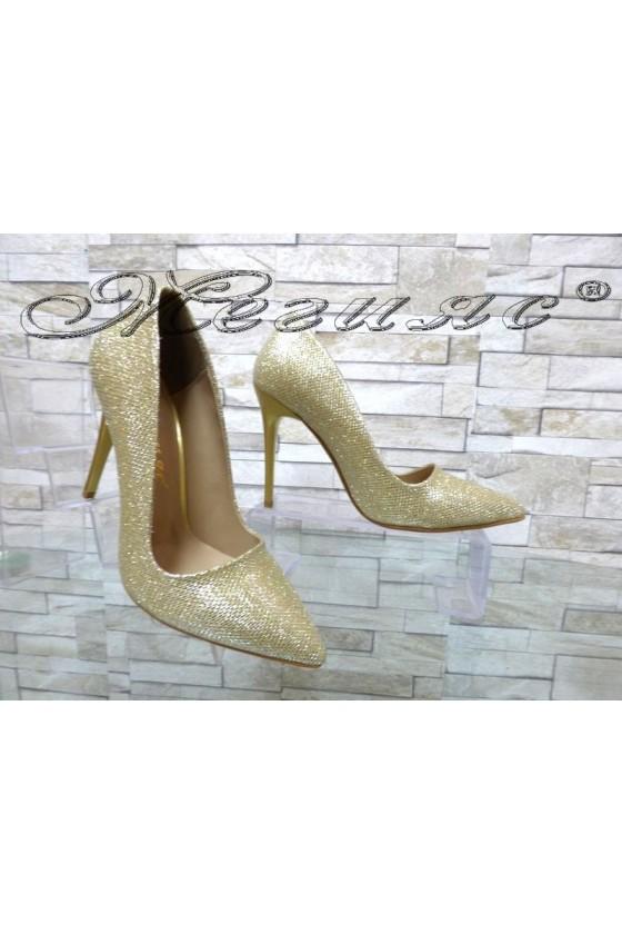 Дамски обувки 050 златисти брокат текстил елегантни с висок ток