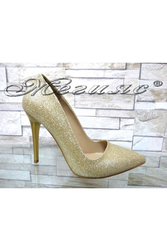 Women elegant shoes 050 gold with high heel