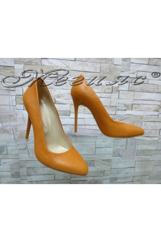 Дамски обувки 162 оранжев мат елегантни с висок ток