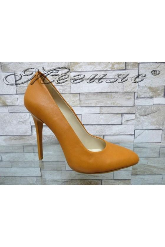 Дамски обувки 162 оранжеви еко кожа елегантни с висок ток