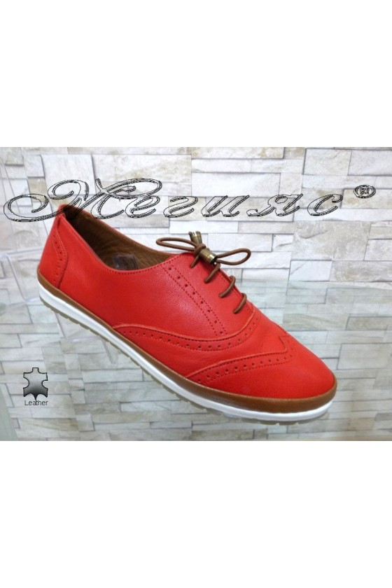 Women shoes 8105 red leather