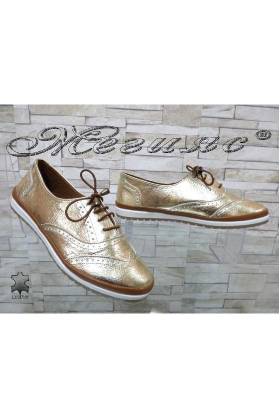 Дамски обувки 8105 златисти равни от естествена кожа