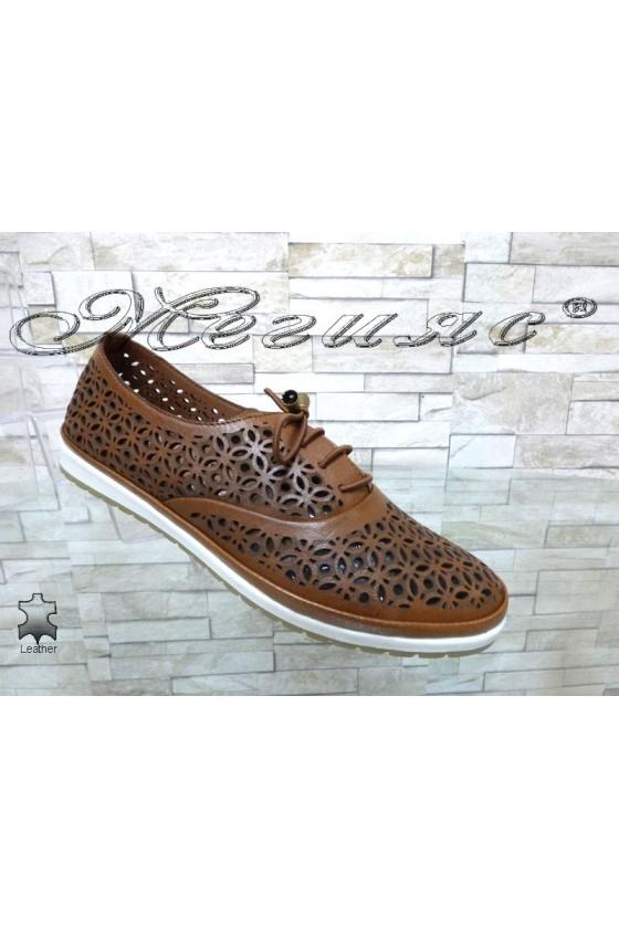 Дамски обувки 8102 таба равни от естествена кожа
