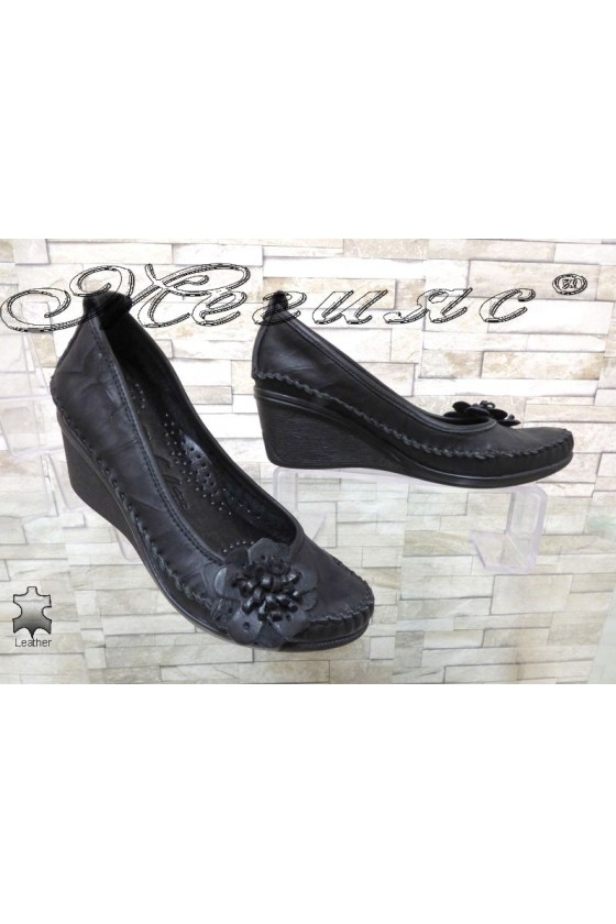 Women platform shoes 166 black leather