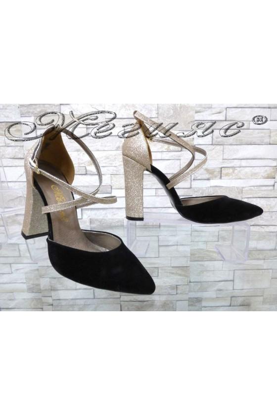Дамски обувки 547 черни със златисто елегантни с широк ток