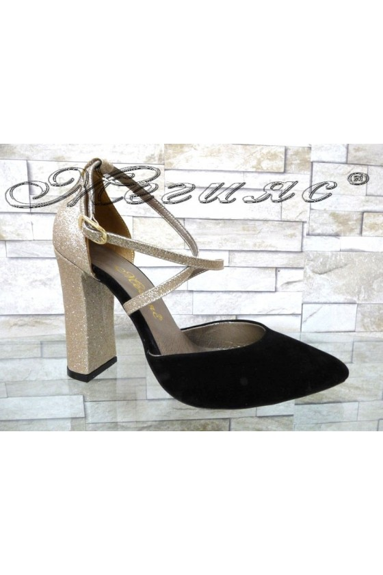 Дамски сандали 547 черни със златисто елегантни с широк ток