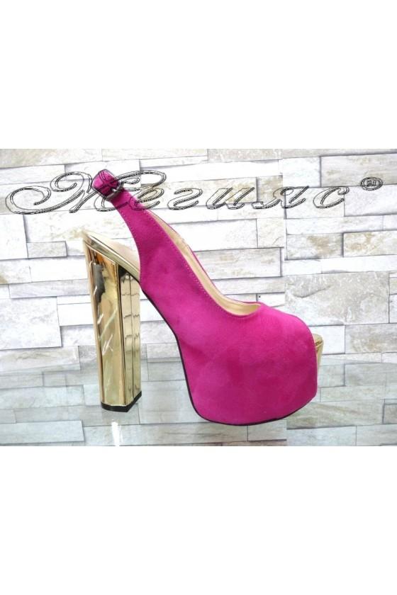 Lady sandals  00436 fushia with high heel