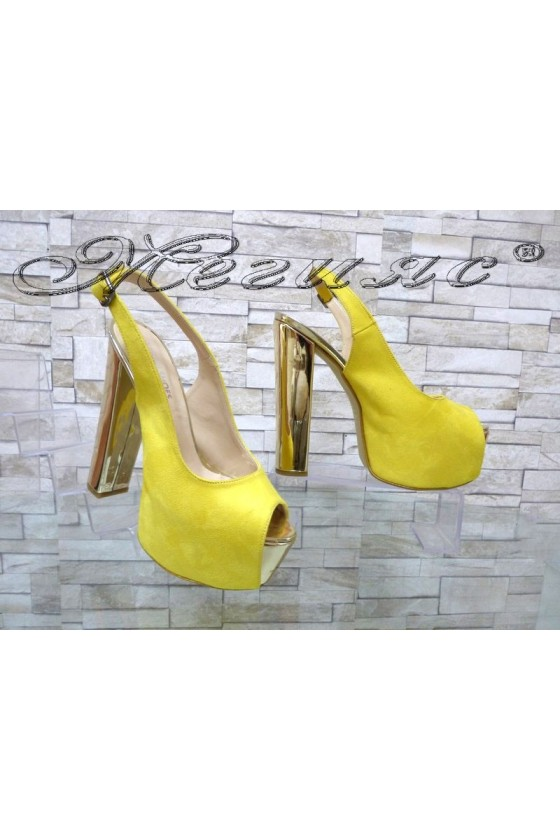 Lady sandals 00436 yellow with high heel