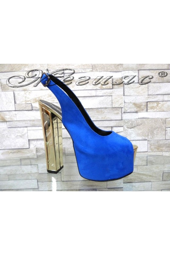 Lady sandals 00436  blue with high heel