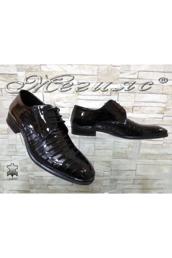 Мъжки обувки Фантазия 12308-246 черни естествен лак елегантни