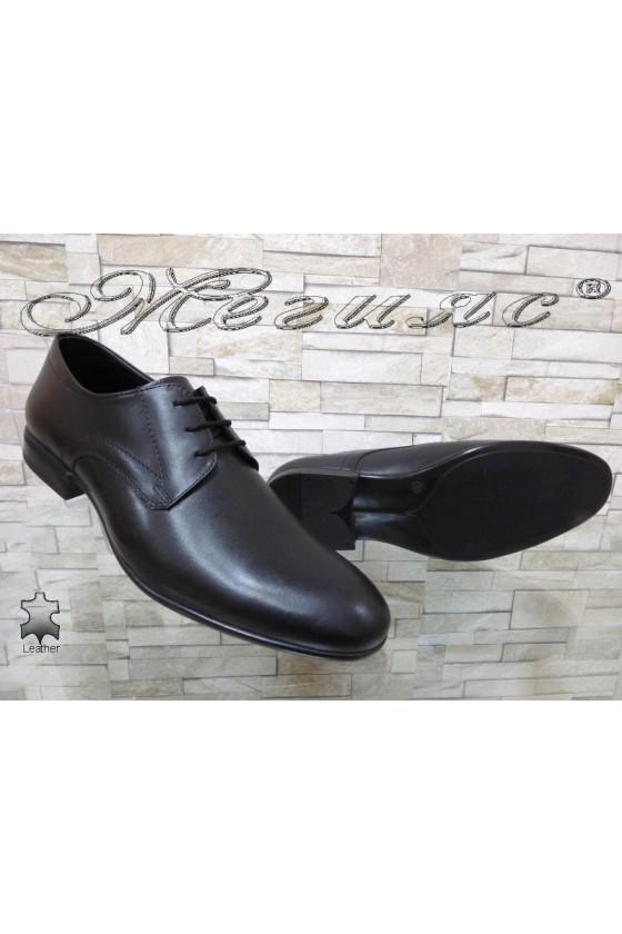 Мъжки обувки елегантни естествена кожа черни Фантазия 12205