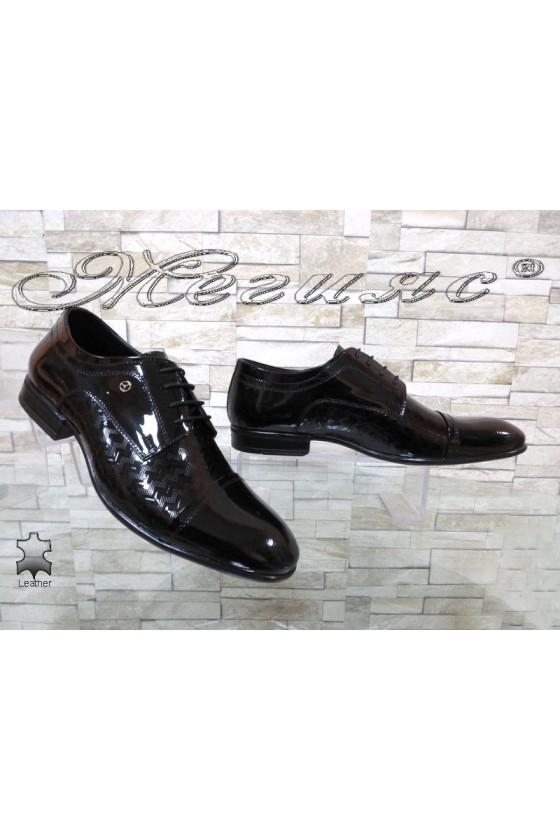 Мъжки обувки Фантазия 12201-245 черни естествен лак елегантни