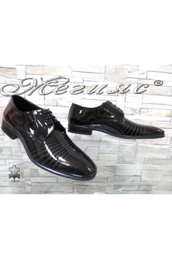 Мъжки обувки Фантазия 12300-15 черни естествен лак елегантни