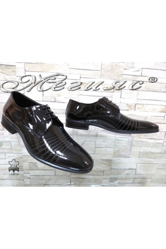 Мъжки обувки черни естествен лак елегантни