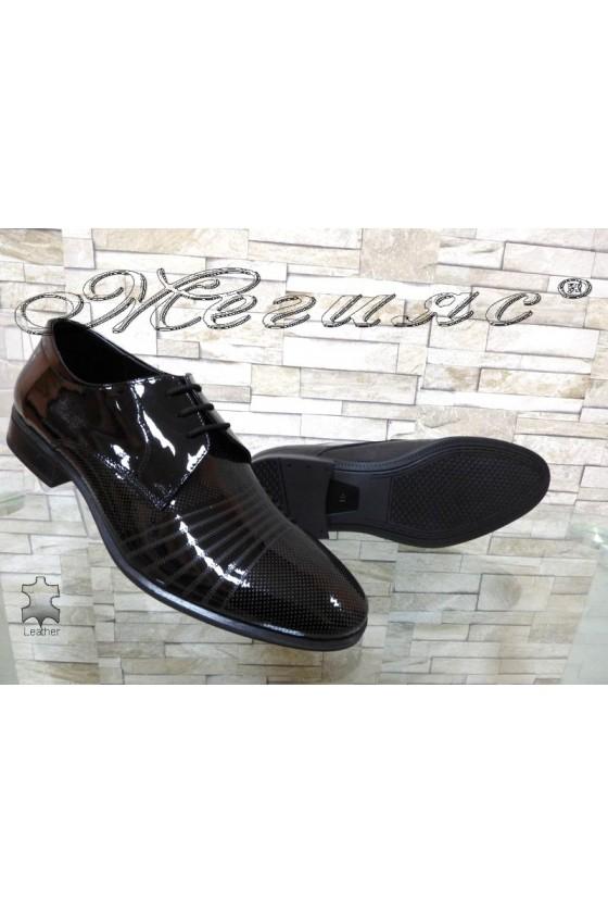 Мъжки обувки черни естествен лак елегантни Фантазия 12300-15