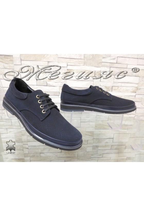 Мъжки обувки Шарп 703-3003 сини от естествен велур с перфорация ежедневни