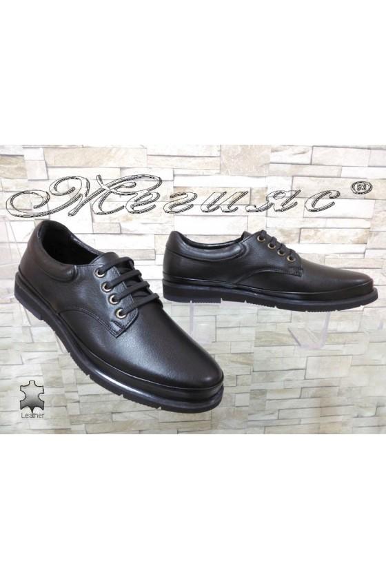 Мъжки обувки Шарп 3003 черни от естествена кожа ежедневни