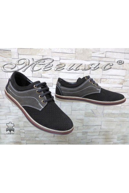 Men's shoes Sharp 705-3001 black with grey suede