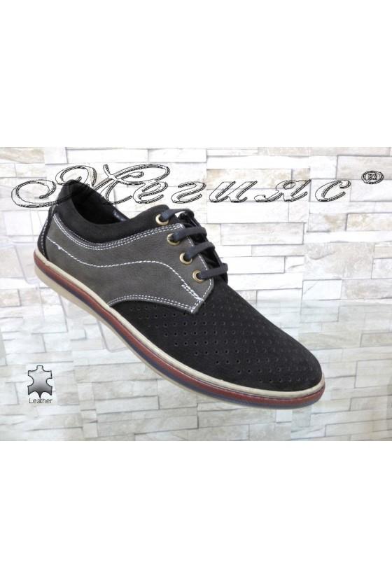 Мъжки обувки Шарп 705-3001 черно със сиво от естествен велур с перфорация ежедневни
