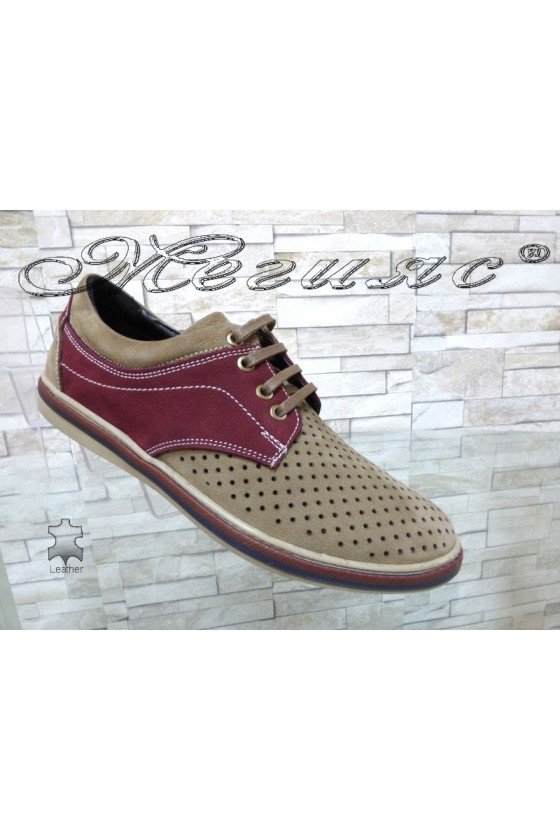 Men's shoes Sharp 705-3001 beige with bordo suede