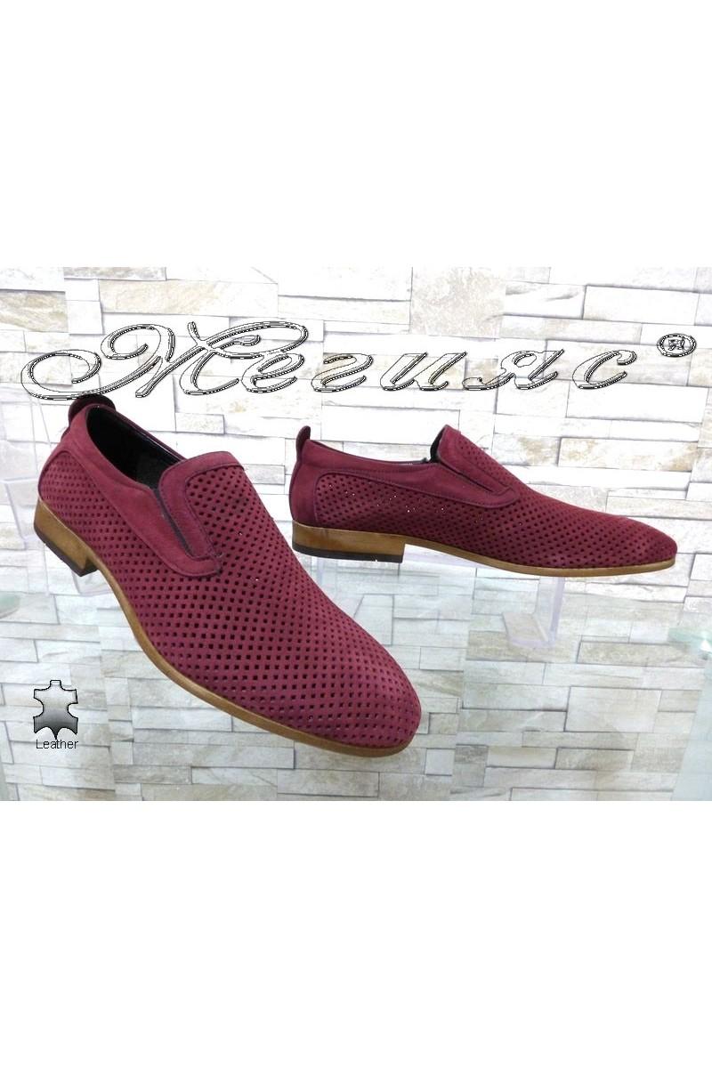 Мъжки обувки Sharp 720 бордо от естествен набук с перфорация