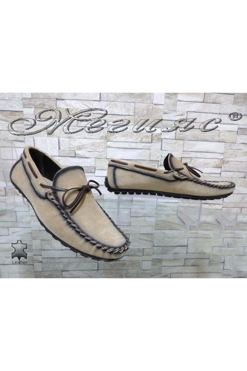 Мъжки обувки 01/2018 бежови тип мокасини от естествен велур