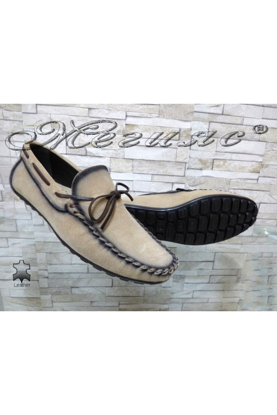 Men's shoes 01/2018 beige suede leather