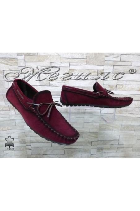 Мъжки обувки 01/2018 бордо тип мокасини от естествен велур