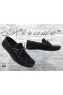 Мъжки обувки 01/2018 черни тип мокасини от естествен велур
