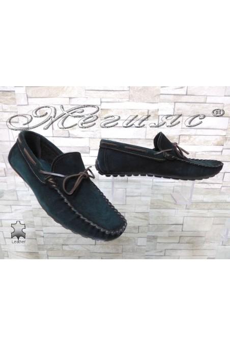 Мъжки обувки 01/2018 тъмно зелени тип мокасини от естествен велур