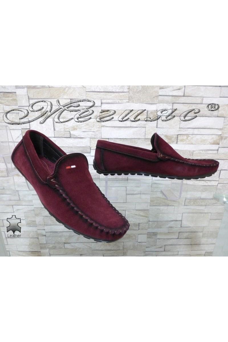Мъжки обувки 02/2018 бордо тип мокасини от естествен велур