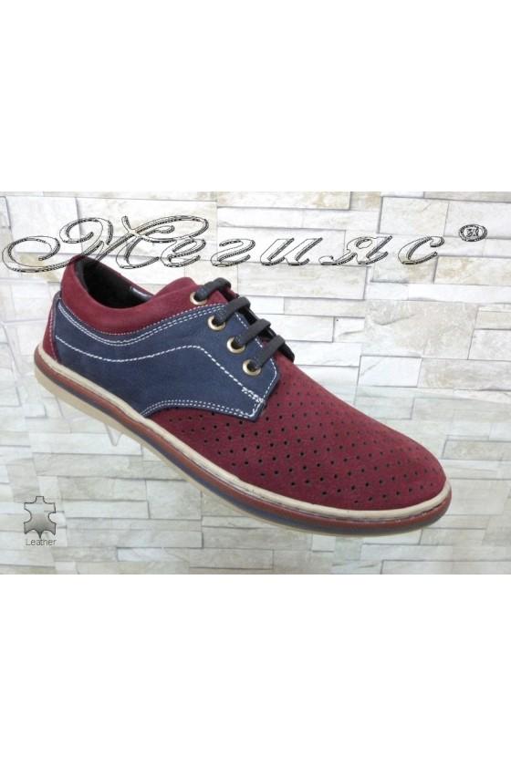 Мъжки обувки Sharp 705-3001 бордо със синьо от естествен велур с перфорация ежедневни