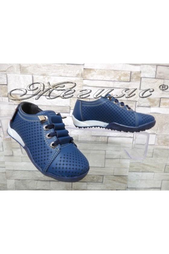 Детски обувки 00219 сини от еко кожа ежедневни