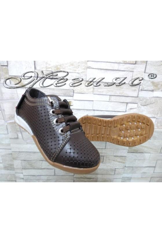 Детски обувки кафяви от еко кожа ежедневни 00219