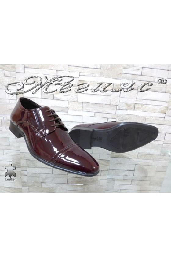Мъжки/Юношески обувки бордо естествен лак Фантазия 8017
