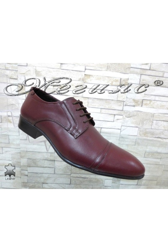 Мъжки/Юношески обувки бордо естествена кожа Фантазия 8017