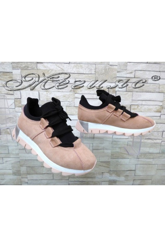 Women sport shoes 5689 pink suede
