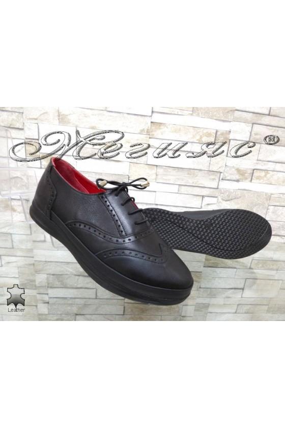 Дамски ортопедични обувки 10-К черни от естествена кожа ежедневни