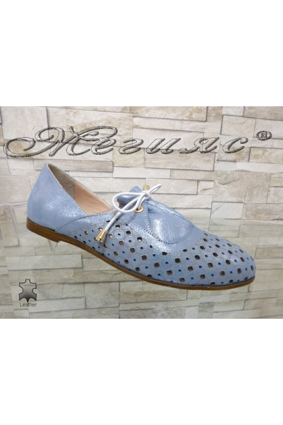 Дамски обувки 105-22 сини с перфорация от естествена кожа
