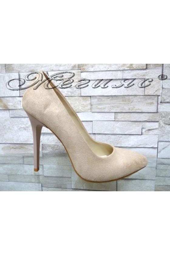 Дамски обувки 162 светло бежови еко велур елегантни на висок ток