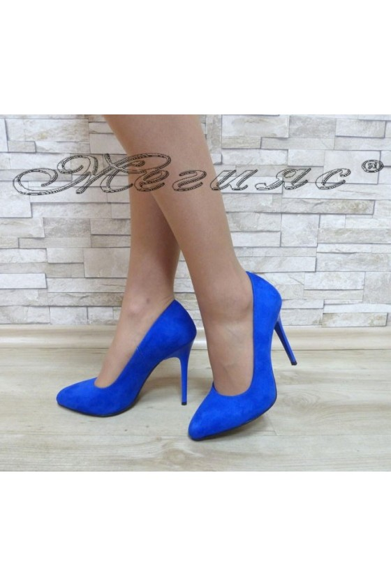 Lady elegant shoes 162 blue suede with high heel
