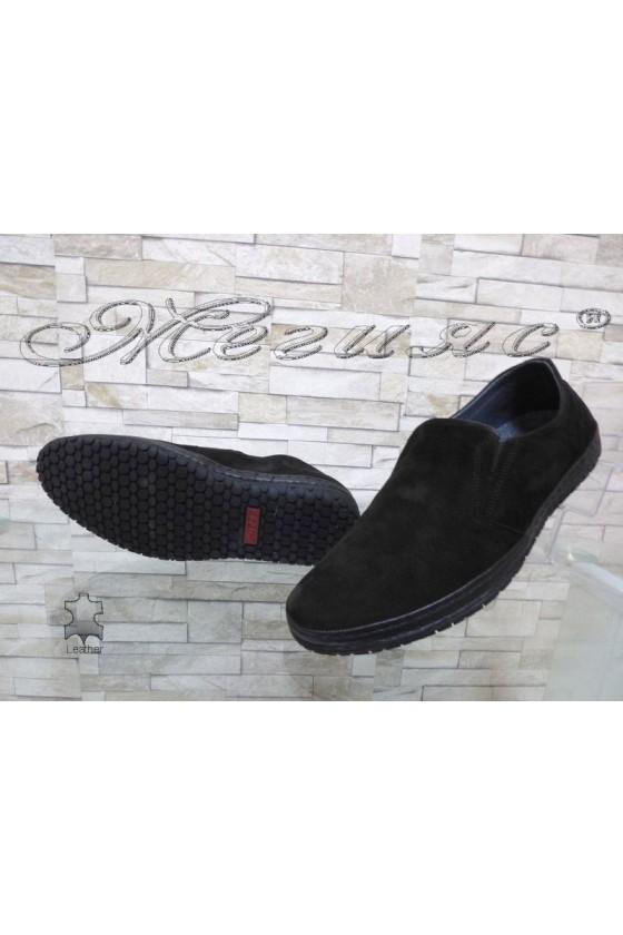 Men's shoes 809-07-14 black suede leather