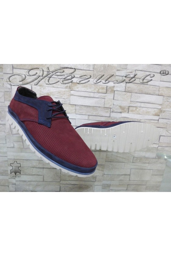 Men's shoes 2-A wine suede leather