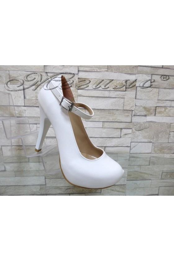 Women elegant  shoes 520 white pu with high heel