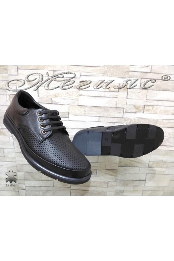 Мъжки обувки Sharp 3003 перфорация мат черни от естествена кожа ежедневни